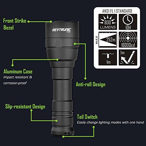 800 lumen rechargeable flashlight Revtronic