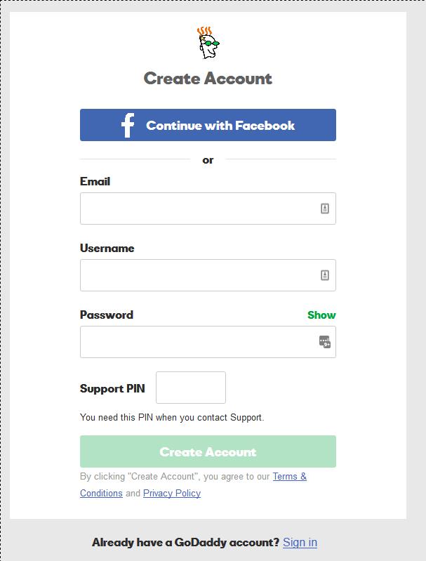 Create new Account on godaddy